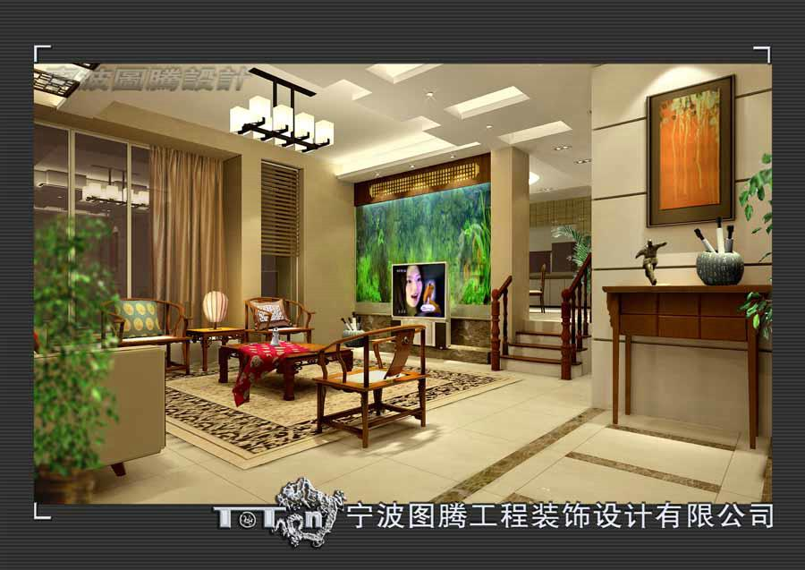 新中式别墅室内效果-作品-金牌设计师[张仁尔]