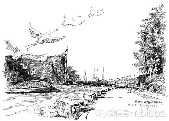 苏州大学手绘线稿